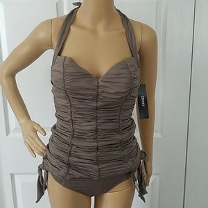 DKNY Shirred Taupe Tankini w Side Ties Size Sm